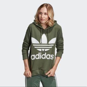 NWOT Adidas Trefoil Logo Green Hoodie Size S